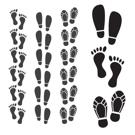 imprints: Shoes imprints set. Footprint and human step Illustration