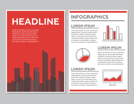 web site design template: Creative Brochure Template Design with infographic chart. Abstract Vector Flyer, Pamphlet, Leaflet layout for marketing, advertising and Flat style web site banners Illustration