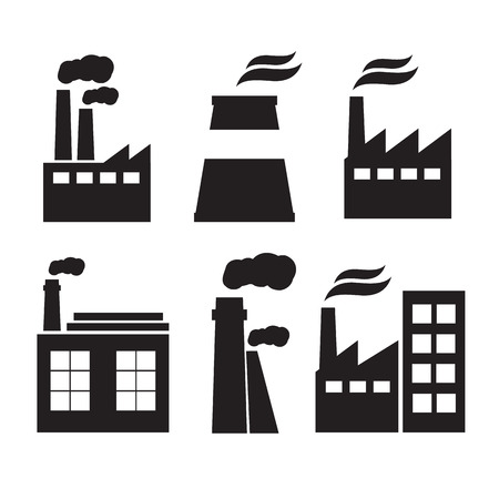 manufactory: Set of industry manufactory building icons. Plant and factory, power and smoke, oil and energy, nuclear manufacturing station.