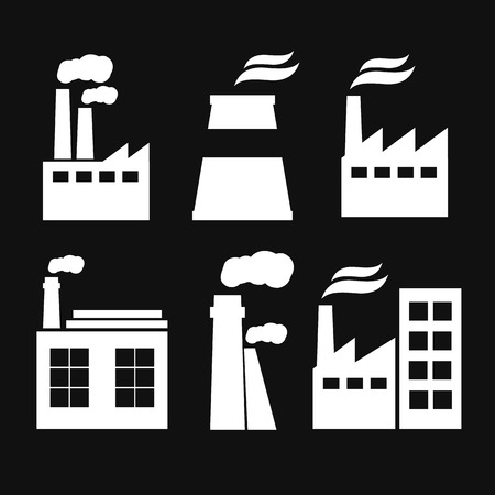 Set of industry manufactory building icons. Plant and factory, power and smoke, oil and energy, nuclear manufacturing station. Stok Fotoğraf - 54664749