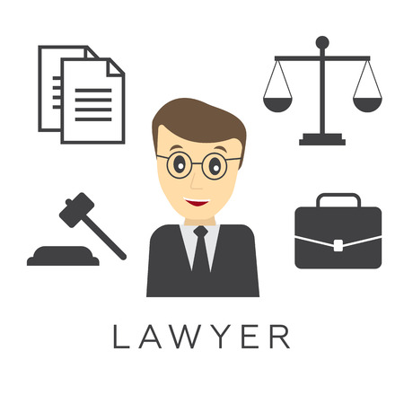 solicitor: Vector lawyer, attorney or jurist concept background