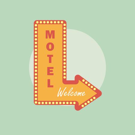 motel: Motel vintage icon. Motel retro style. Motel concept in flat style. Illustration