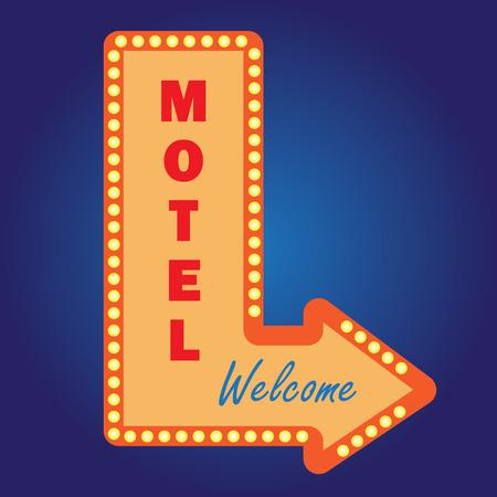 Neon vintage motel signwith light bulbs