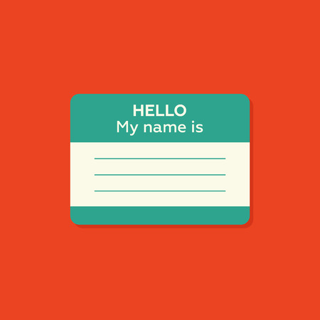 introduce: Hello my name is card, Label sticker, introduce badge welcome