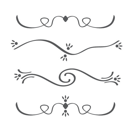 separator: Collection of vector calligraphic lines ornaments or dividers . Retro style Illustration
