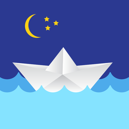 vessel: Origami paper ship on ocean waves. Travel transport toy, cruise and vessel