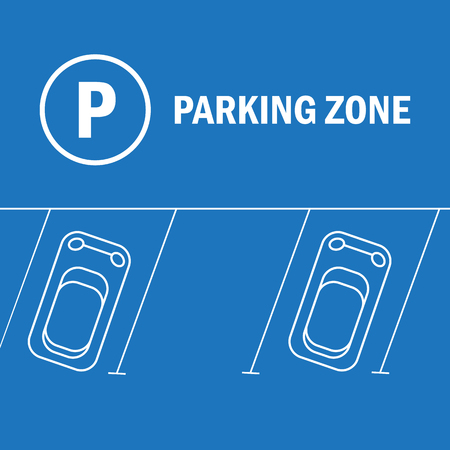 busy street: Parking lot illustration. Car and transportation, auto park Illustration