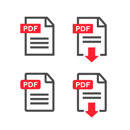 symbols: PDF file download icon. Document text, symbol web format information