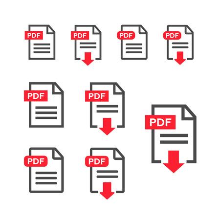 PDF file, web icon. design vector set Stock Illustratie