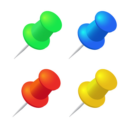 tack: Push pins vector set. Stationery object, plastic element, tack and needle