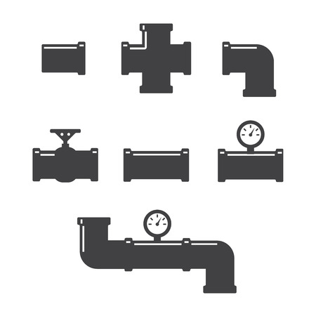 fittings: Pipe fittings vector icons set. Tube industry, construction pipeline, drain system