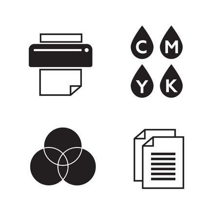 Vector set of printing icons. Palette and printer