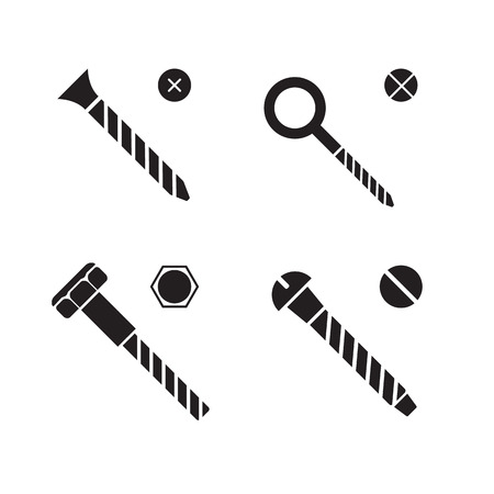 Screws, nuts and rivets icons Illustration