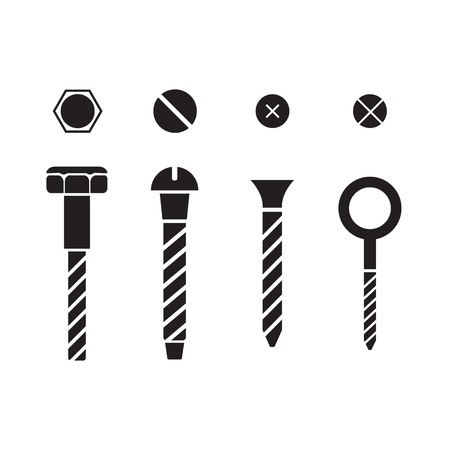 Screws, nuts and rivets icons set Illustration
