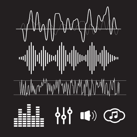 vibrations: Vector Sound Waveforms. Sound waves and musical icons