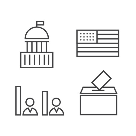 voting: Voting and elections linear icons