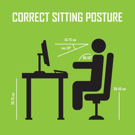 Correct sitting posture. Vector infographics. Posture correct, health correct sitting, body correct