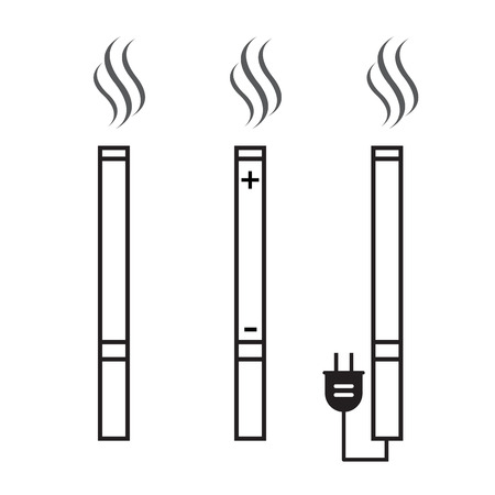 nicotine: Cigarette and electronic cigarette icons vector. Cigarette nicotine, and smoke Illustration