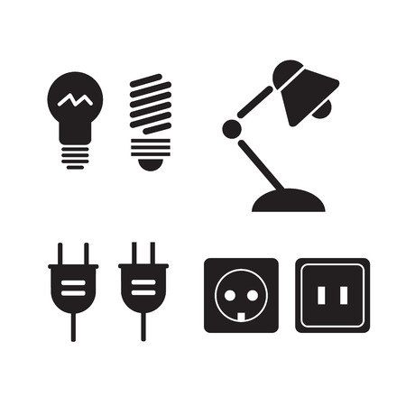 electrical symbols: Lamp and bulbs black vector icons set. Electrical symbols. Bulb energy, electric lamp icon Illustration