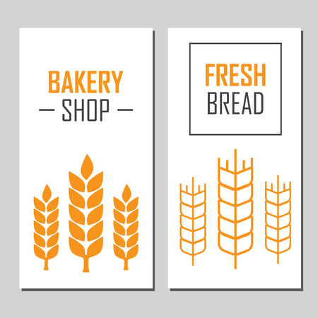 oat field: Hand drawn bread horizontal banners