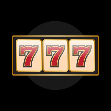 slot machines: símbolos de máquinas tragamonedas en el fondo negro. Siete de la suerte Vectores