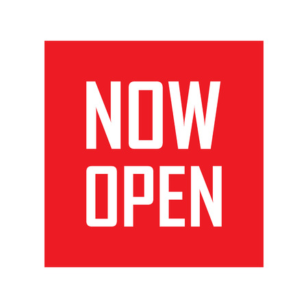 now open, red vector now open, red tag now open, background now open, illustration now open, element now open, sign now open, design now open