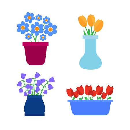 vases: Flower pots icons. Spring flowers in pots and vases set