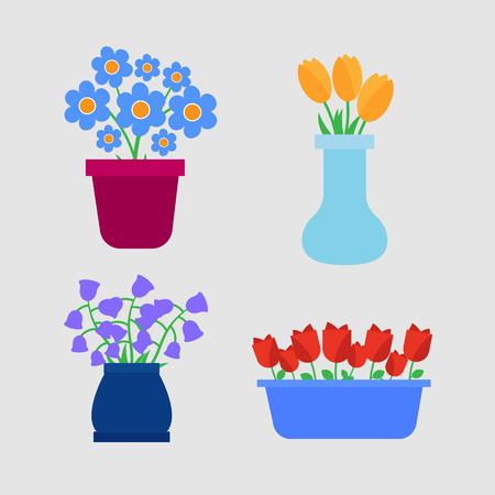 Macetas iconos. Flores de primavera en macetas y jarrones de poner