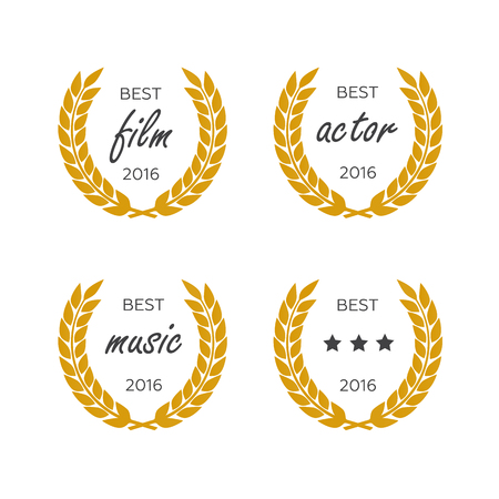 famous actress: Set of awards for best. Black color film award wreaths isolated Illustration