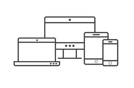 Multi Device Icons: smartphone, tablet, laptop and desktop computer.