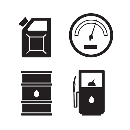 fuelling pump: Gas station vector icons set. Gas icon, car and oil icon