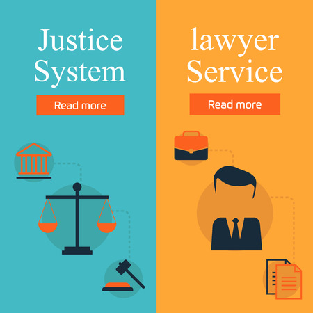 legal system: Legal services, law and order, justice vector flat concept set. Honest judge, justice system, crime investigation