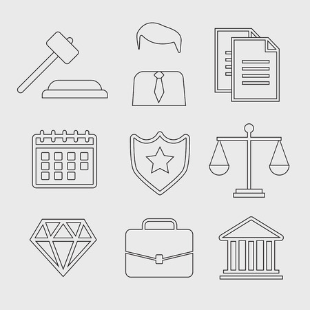 legal system: Law and justice thin line vector icons. The legal system, judge, police and lawyer vector Illustration