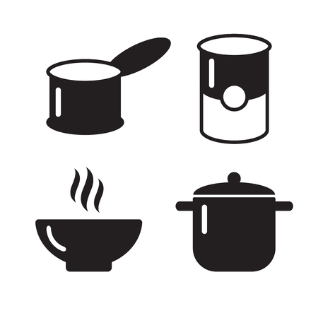 utensil: Bowl, can and pot black icons set. Soup symbols. Pot icon utensil bowl utensil, cook soup