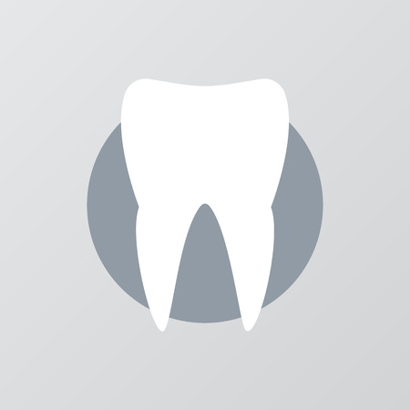 stomatology: White tooth with long shadow effect. Silhouette white tooth, icon tooth white, stomatology healthcare