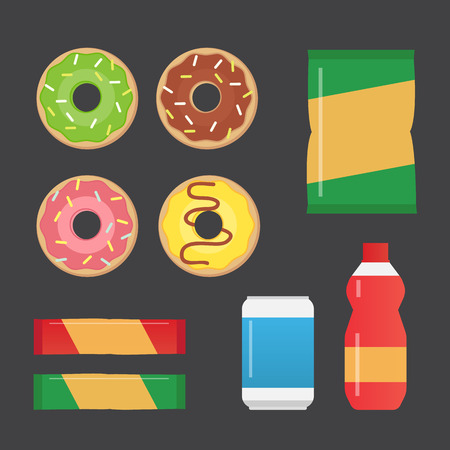 chocolate chip: Fast food snacks and drinks flat vector icons. Vending machine products vector illustration