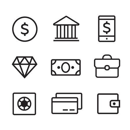 cash money: Money line vector icons set. Money finance, credit card bank, commerce currency coin, cash money Illustration