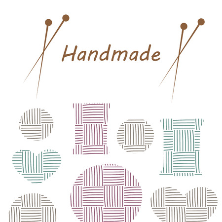 needlework: Knitting items, sewing equipment and needlework elements vector Illustration