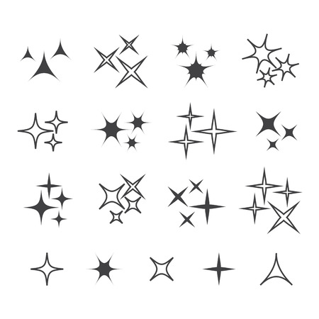 Black sparkles, glowing light effect stars and bursts vector set. Bright firework, decoration twinkle, shiny flash vecor illustration