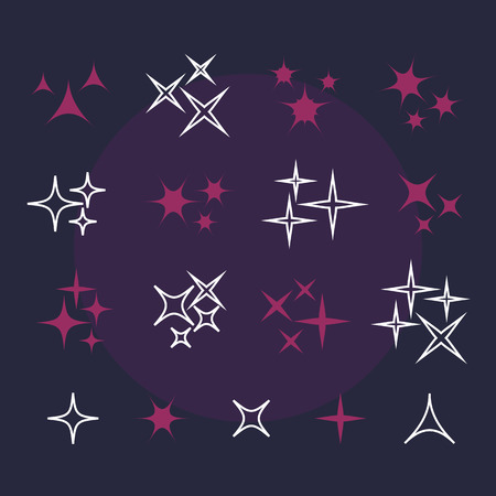 scintillation: Shine stars with glitters and sparkles. Effect twinkle, design glare, scintillation element sign, graphic light vector illustration Illustration