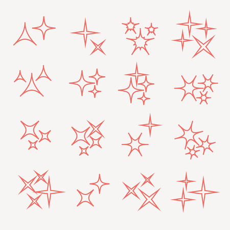 starbursts: Sparkles, starbursts and fireworks. linear icons vector