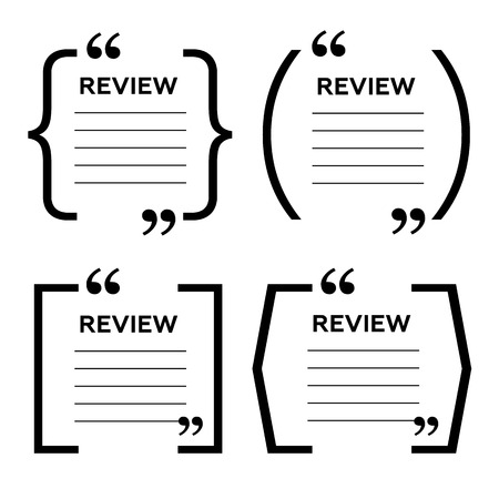 citation: Website review quote citation blank template. Website review vector icon. Quote comment template. Quote bubble