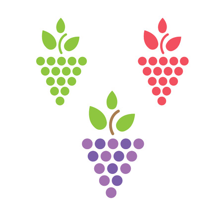 grapes on vine: Grapes vector isolated. Grapes icon. Grapes logo. Grapes wine or grapes vine. Grapes with green leaf isolated. Nature grapes logotype. Wine or vine logo Illustration