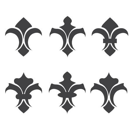 lis: Engraving fleur de lis icons set. Antique decoration fleur de lis, medieval heraldic