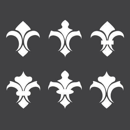 lis: Fleur de lis vector icons. Decoration icon emblem Illustration