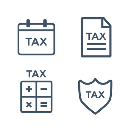 time account: Line tax icons. Tax money, finance tax business, document tax. Vector illustration Illustration