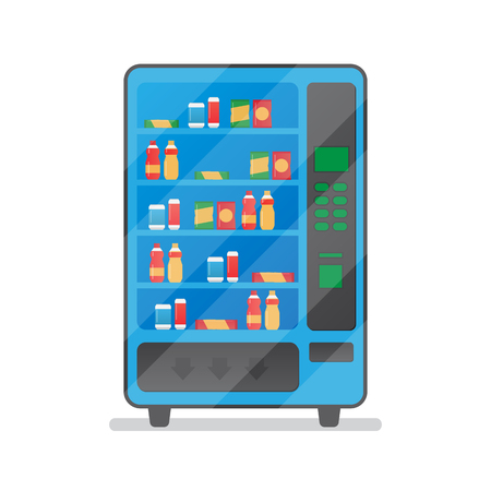 Vending machine with snacks and drinks. Machine automatic, public vending Illustration