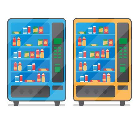 Vending koffie snack en water is een machine vectorillustratie