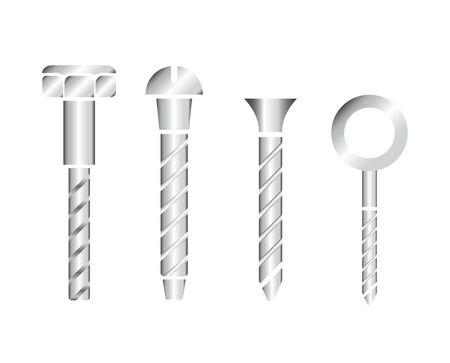 clincher: Construction hardware icons. Screws, bolts, nuts and rivets. Equipment stainless vector