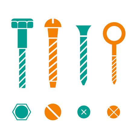 tornillos: Iconos de construcción de hardware. Tornillos, pernos, tuercas y remaches vector